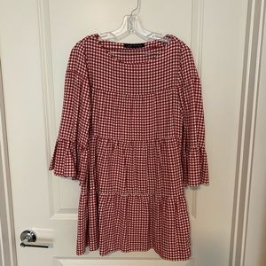 Zara gingham short tiered dress